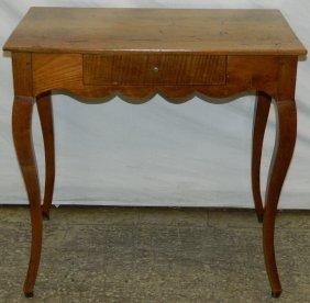19th C. Fr Country Walnut Work Table W/ Drawer