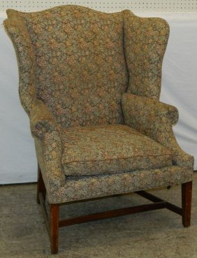 19th C. American Chippendale Wing Back Chair.