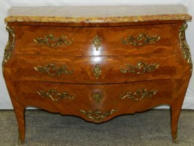 French Marble Top Bombay 3 Drawer Commode.