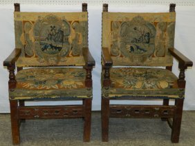 Pair 18th C Carved Walnut Flemish Arm Chairs.