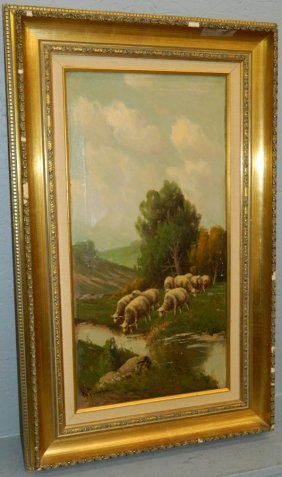 19th C. Ooc Pastoral Scene With Sheep, Signed