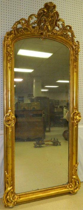 19th C. Gilt Victorian Pier Mirror With Cherubs.