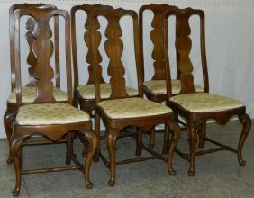 Set Of 6 Walnut Queen Anne Chairs. 42""