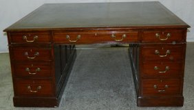 19th C. Tooled Leather Top Partners Desk.