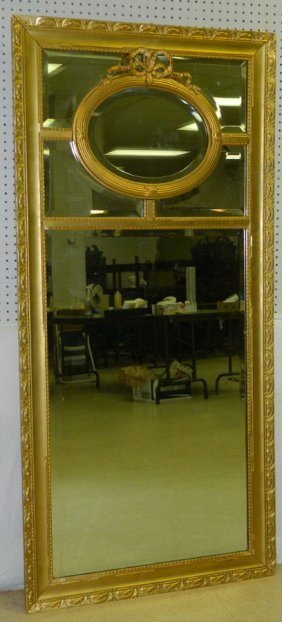 Gold Leaf Framed Bevel Edge Mirror.