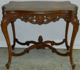 Marquetry Inlaid Burl Walnut French Center Table.
