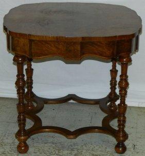 Burl Walnut Oval Occasional Table.