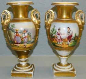 Pair Of Old Paris Portrait Vases.