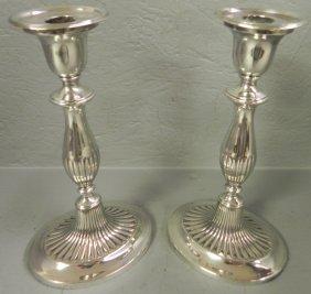Pair Of Early Sheffield Adams Candlesticks.