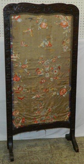 Oriental Silk Paneled Teak Wood Screen.