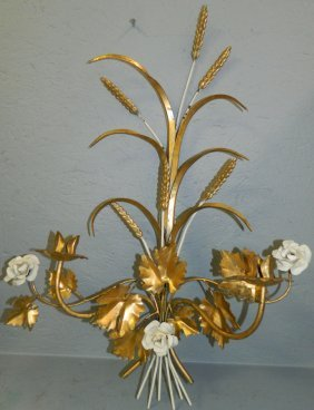 Wheat And Floral Metal Wall Sconce.