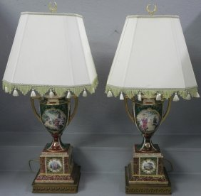 Pair Of Royal Vienna Portrait Lamps.