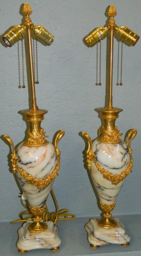 Pair Of Marble & Gold Dec. French Bronze Lamps.