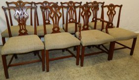 Set Of 8 Mahog. Chippendale Straight Leg Chairs