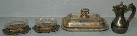 Silver Plate Tea Pot, Covered Dish, 2 Master Salts