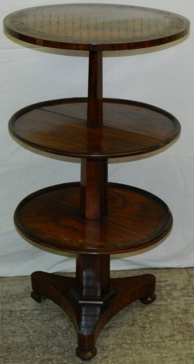 3 Tier Rosewood And Brass Inlaid Dumbwaiter.