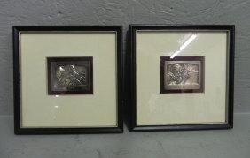 2 Framed Silver Russian Icons.