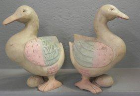 Pr. Hand Carved Wooden Duck Figures.