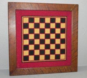 1/4 Sawed Oak Frame W/ Needlework Checkerboard
