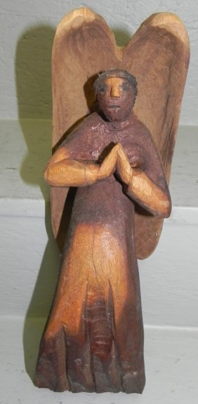 Hand Carved Wooden Praying Angel.