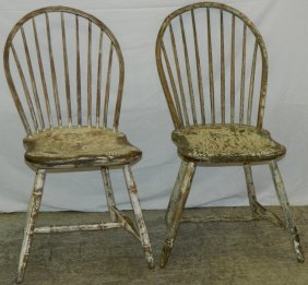 Pr Ne Windsor 9 Spindle Side Chairs W/ Old Paint.
