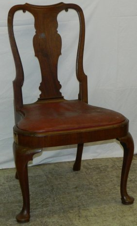 Queen Anne Saddle Seat Leather Side Chair.