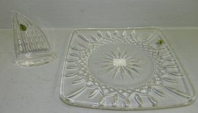 Waterford Square Plate And Sail Boat Paperweight.