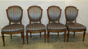 Set Of Four Shield Back French Dining Chairs.