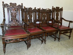 Set Of 8 English Oak Bt Carved Back Dining Chairs