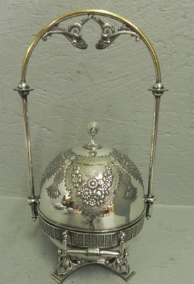 "Silver Plate Butter Dish. 12 5/8"" Tall."