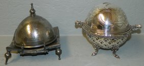 "2 Silver Plate Butter Dishes. 6"" Tall."