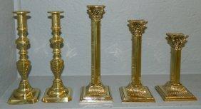 3 Brass Column Sticks & 2 Brass Beehive C/sticks