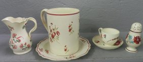 6 Pcs English Cream Ware In Queens Rose Pattern