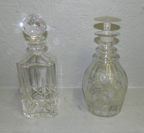 19th C. Cut Glass Decanter & Sq. Atlantis Decanter.