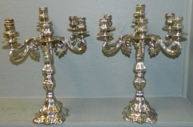 Pr 20th C. Italian Sterling Candelabras.