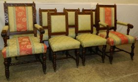 8 Carved Walnut Victorian Style Dining Chairs.