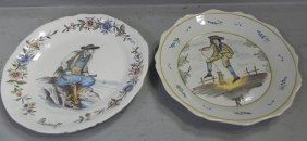 "2 Hand Painted French Faience Plates. 9"" Dia."