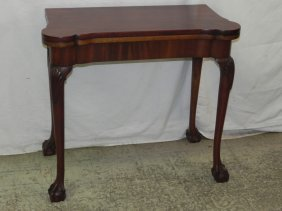Ball And Claw Foot Chippendale Style Game Table