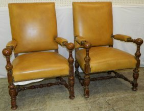 Pair Of Continental Leather Covered Arm Chairs.