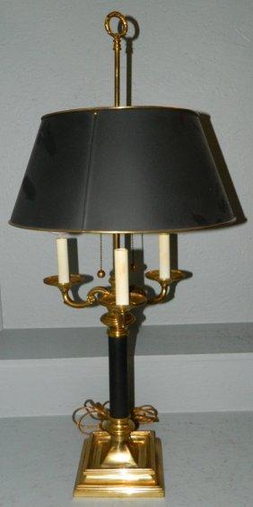 """Brass And Metal 5 Light Boulle Lamp. 34 1/2"""" Tall."""