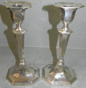Pr English Hallmarked Sterling Silver Candlesticks.