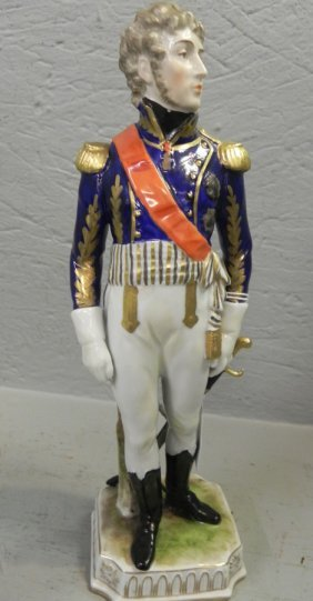"Dresden Figure Of Napoleonic Soldier. 11 5/8"" Tall."