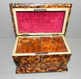 Faux Tortoise Tea Caddy With Fittings.