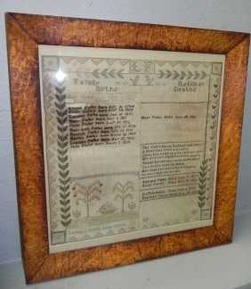 Antique Sampler Dated 1832 By Lenoir Forbe