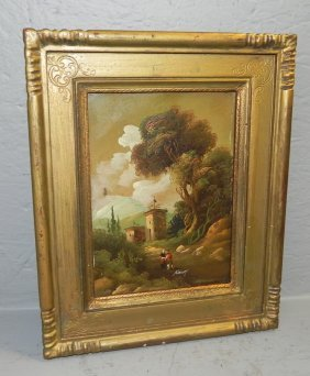 Small Signed Landscape Painting On Copper.
