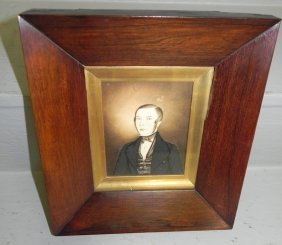 Rosewood Framed Watercolor Portrait Of Gentleman.