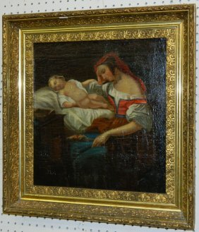 19th C. Oil On Canvas Of Mother And Infant.