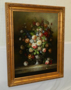 Still Life Oil On Canvas Signed V. Cosobianchi.