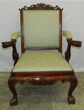 Carved Mahog. Classical Arm Chair.