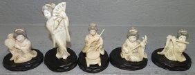 5 Carved Bone Geisha Figures.